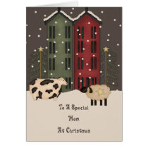 Primitive Cow Sheep Mom Christmas Card