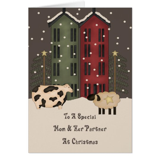 Primitive Cow Sheep Mom & Partner Christmas Card