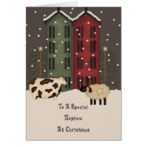 Primitive Cow & Sheep Nephew Christmas Card