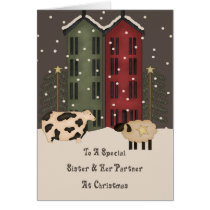 Primitive Cow Sheep Sister Partner Christmas Card