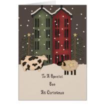 Primitive Cow & Sheep Son Christmas Card