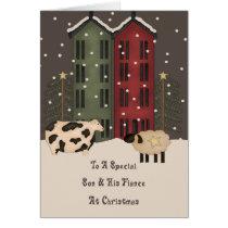 Primitive Cow Sheep Son & Fiance Christmas Card