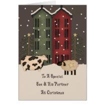 Primitive Cow Sheep Son & Partner Christmas Card