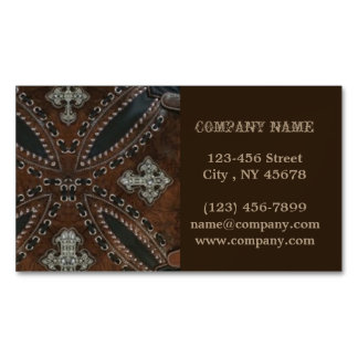 Primitive cowboy western country Tooled Leather Business Card Magnet