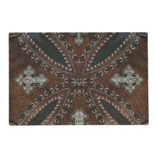 Primitive cowboy western country Tooled Leather Placemat