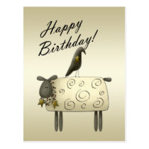 Primitive Crow and Sheep Birthday Postcard