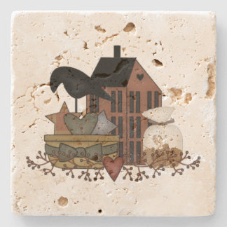 Primitive Crow Basket Salt Box House Stone Coaster