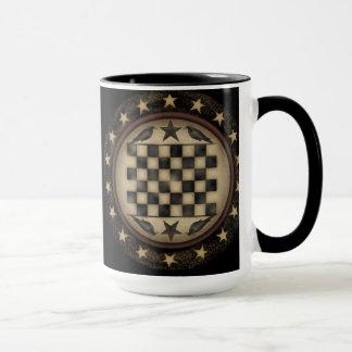 Primitive Crow Checkerboard Coffee Mug