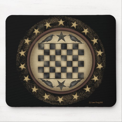 Primitive Crow Checkerboard Mousepad
