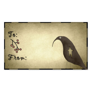 Primitive Crow Design 1 - Holiday Gift Tags Business Cards