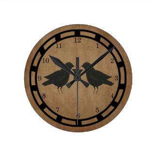 Primitive Crows Wall Clock