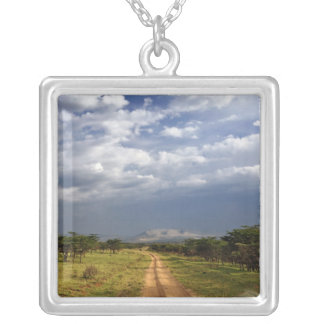 Primitive dirt road across the northern square pendant necklace