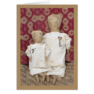 Primitive Dolls and Coverlet Card