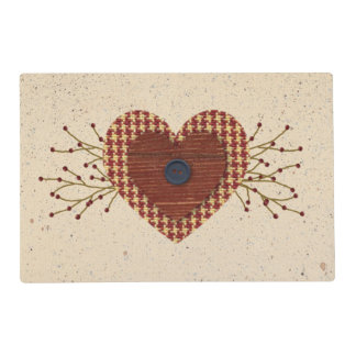 Primitive Fabric Heart Laminated Placemat