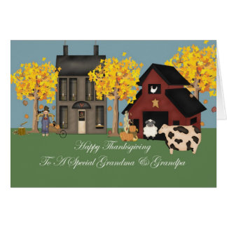 Primitive Farm Grandma Grandpa Thanksgiving Card