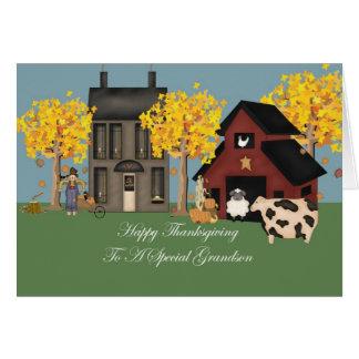 Primitive Farm Grandson Thanksgiving Card