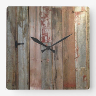 primitive farmhouse western country barn wood square wall clock