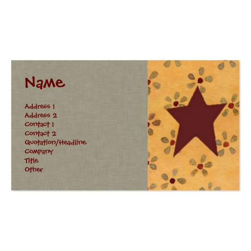 Primitive Floral Profile Card Business Card