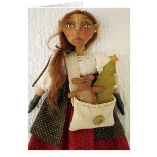 Primitive Folk Art Doll Christmas Card - Dandy