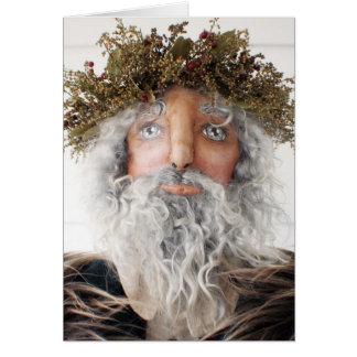 Primitive Folk Art Doll Christmas Card - Santa