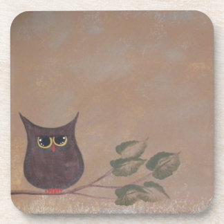 Primitive Folk Art Owl Acrylic Painting Beverage Coaster