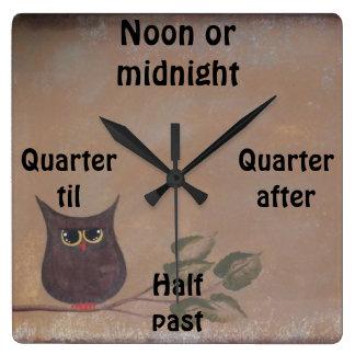 Primitive Folk Art Owl Acrylic Painting Square Wall Clock