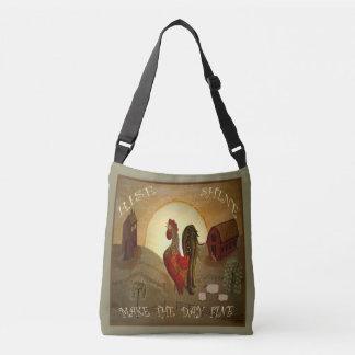 Primitive Folk Art Rise and Shine Farm Rooster Crossbody Bag