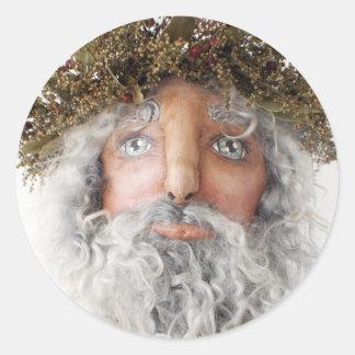 Primitive Folk Art Santa Sticker ~ Christmas Cards