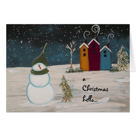 Primitive Folk Art Snowman and Colorful Houses Card