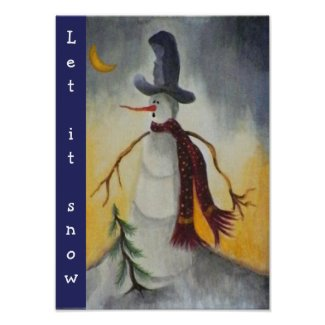Primitive Folk Art Snowman Print