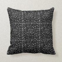 Primitive Geometric Squares Black Throw Pillow