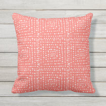 Primitive Geometric Squares in Live Coral Outdoor Pillow