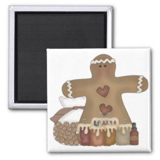 Primitive Gingerbread Man & Candles Magnet