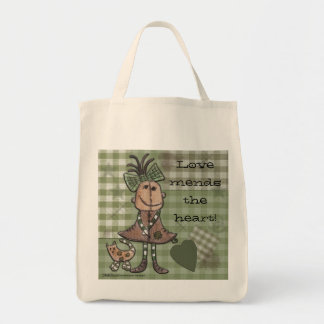 Primitive Girl and Cats Tote Bag