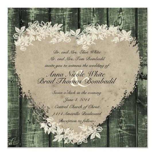 Primitive Green Wood Heart Wedding Invitation