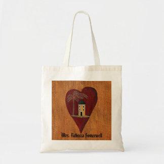 Primitive Heart Customizable Tote Bag