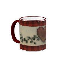 primitive heart mug mug