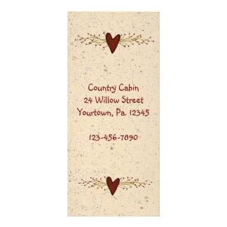 Primitive Heart Rack Card Book Mark