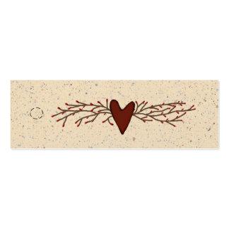 Primitive Heart Skinny Hang Tag Mini Business Card