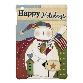 Primitive Holiday Snowman with Flag iPad Mini Case