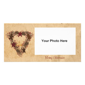 Primitive Holiday Wreath Photo Card