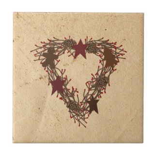 Primitive Holiday Wreath Tile