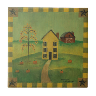 Primitive House in Autumn Ceramic Tile Small Square Tile