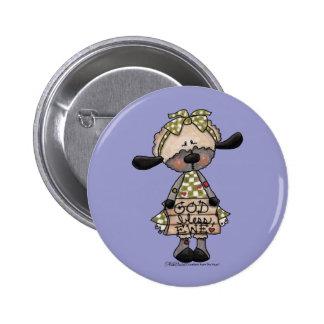 Primitive Lamb-God Bless Ewe 2 Inch Round Button
