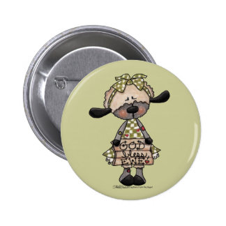 Primitive Lamb-God Bless Ewe Pinback Buttons