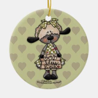Primitive Lamb-God Bless Ewe Ceramic Ornament