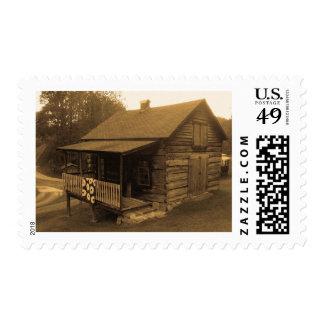 Primitive Log Cabin Postage