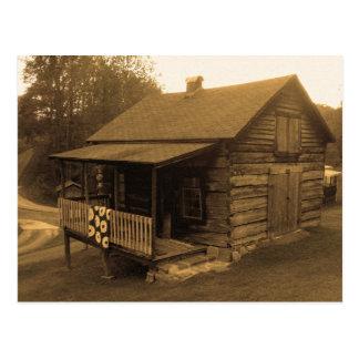 Primitive Log Cabin Postcard