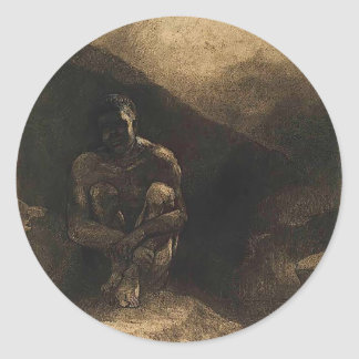 Primitive Man Seated in Shadow by Odilon Redon Round Stickers