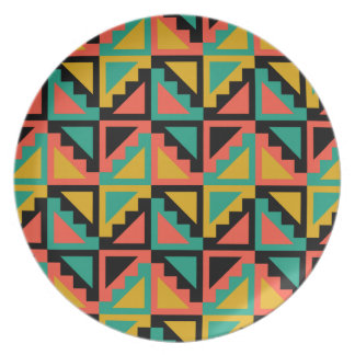 Primitive Mexican Steps Pattern Dinner Plate